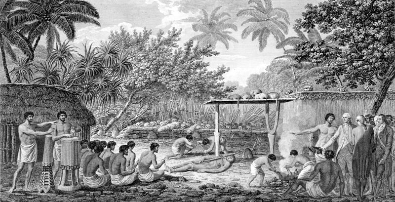Wikipedia Commons: James Cook, English navigator, witnessing human sacrifice in Taihiti (Otaheite) c. 1773. Engraving from an 1815 edition of Cook's 'Voyages'