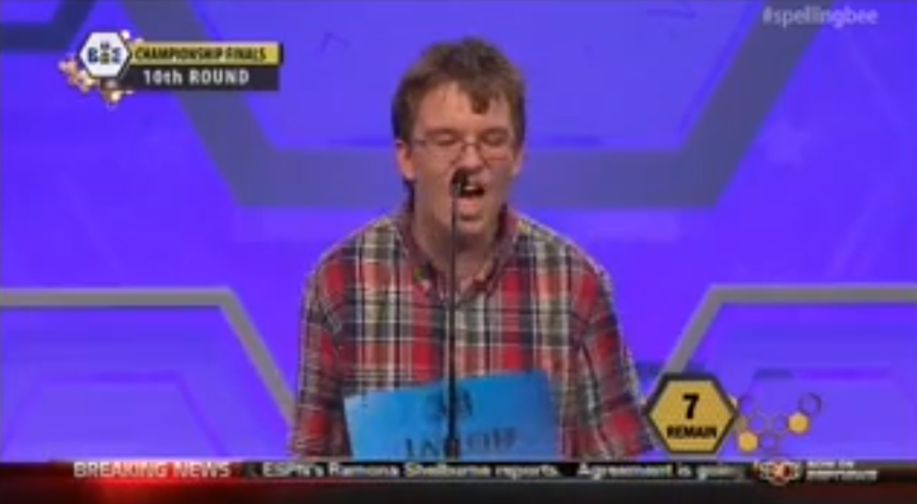 Screenshot of Jacob BLOWING IT at the Scripps National Spelling Bee