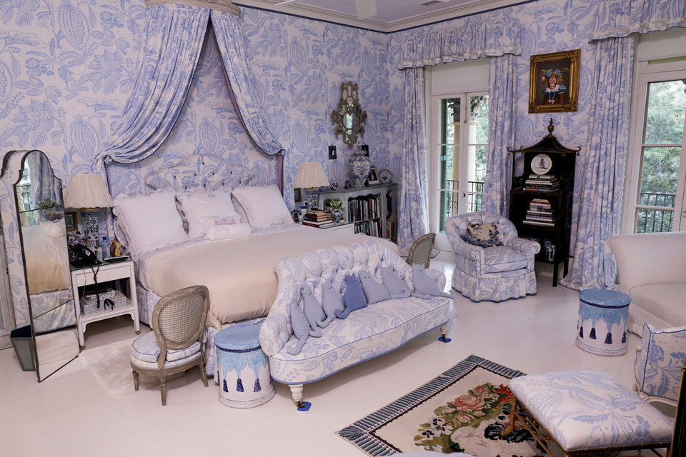 Patricia's boudoir. Please note the cat pillows.